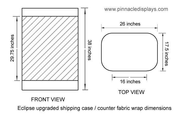 dimensions for velcro fabric counter wrap for for Eclipse upgraded shipping case